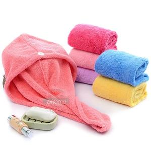 Image 1 - Girls Hair Drying Hat Quick dry Hair Towel Cap Hat Bath Hat Microfiber Solid Towel Cap Super Absorption Turban Hair Dry Cap