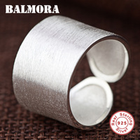 BALMORA Solid 925 Sterling Silver Open Rings For Women Men Lovers Gifts Sterling Silver Ring Classic