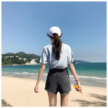 Spring Summer Medium Waist Girls Korean Denim Short Jeans pants Women Loose Wide Leg Pants Woman