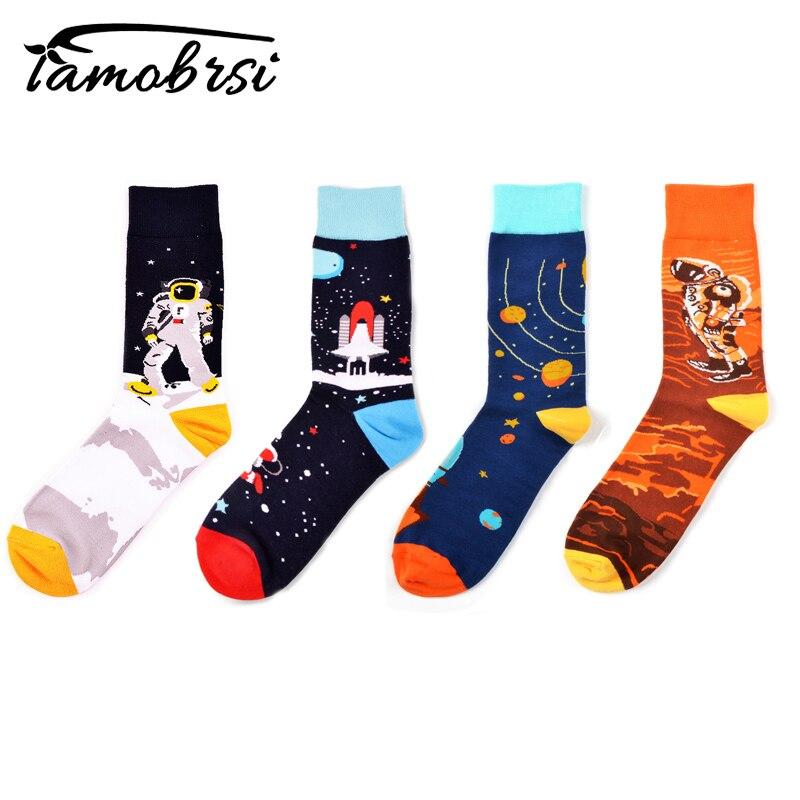 Funky Cotton Astronaut Happy Skateboard Cool Creative Short Socks Crew Women Men Couple Socks Novelty Funny Streetwear Socks