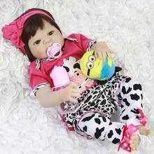 Lifelike 23 Inch Reborn Baby Dolls Full Silicone Vinyl Body Babies Doll Waterproof Girl Toys Looks Like Pink Cows bebe Reborn