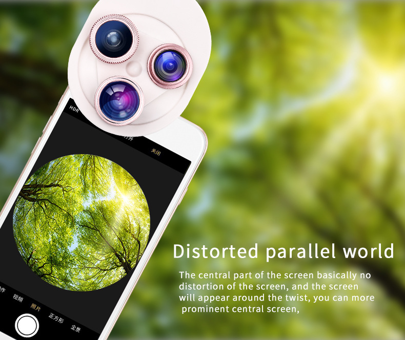 Cell Phone Camera Lens 4 in 1 Universal Professional Kit Fisheye Macro + Wide-angle + CPL Polarized Lens For iPhone Samsung 17