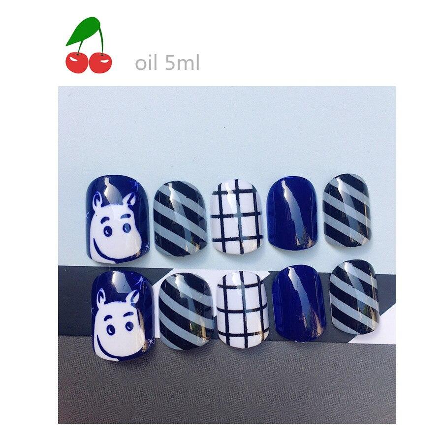 Blue cartoon lovely short form glue nail