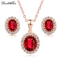 DFS213 Imitation Gemstone 18K Gold Plated Emerald Crystal Wedding Jewelry Sets Christmas Gift Conjunto Joias For