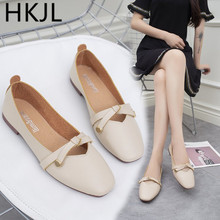HKJL New 2018 womens shoes low top student fashion shallow mouth thick heel sweet grandma loafers A075