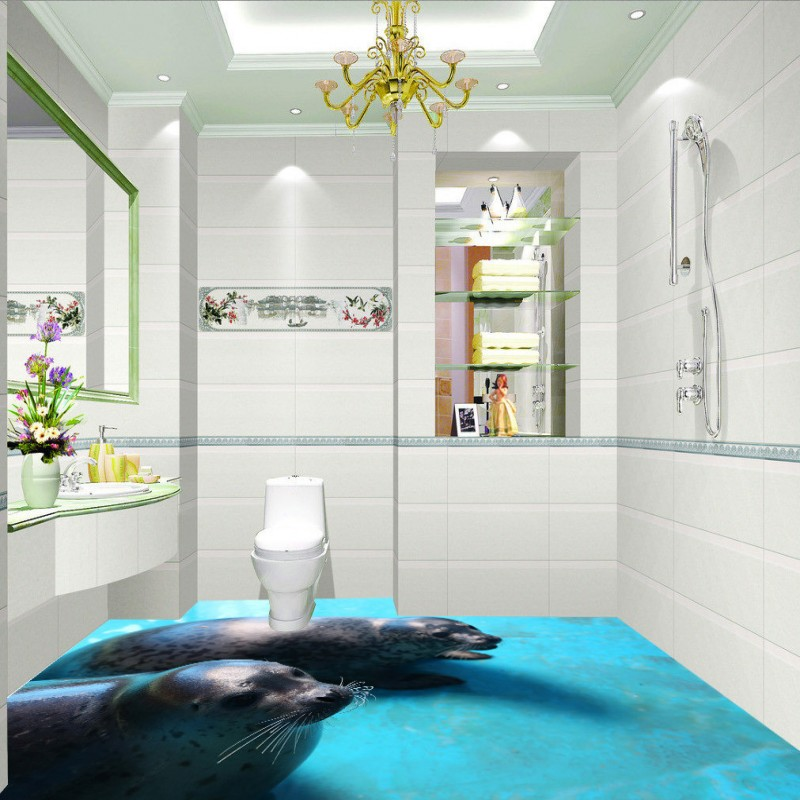 Free Shipping 3D Bathroom living room aquarium flooring wallpaper Seal self-adhesive waterproof floor mural free shipping 3d living room dining room kitchen bathroom foyer waterproof self adhesive fish flooring wallpaper mural fh 023