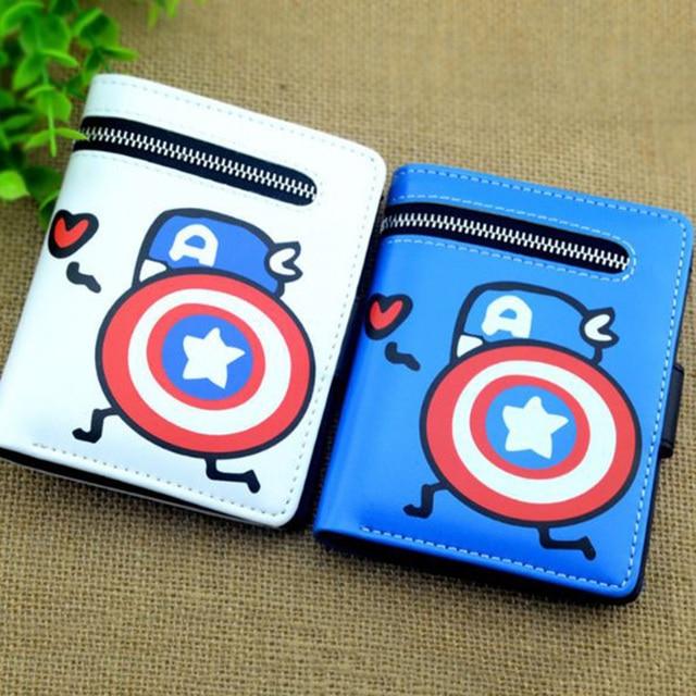 1 Pc Adorável Capitão América Carteiras Bolsa Curto Carteira Titular do Cartão de Estudante Cosplay Figura Toy