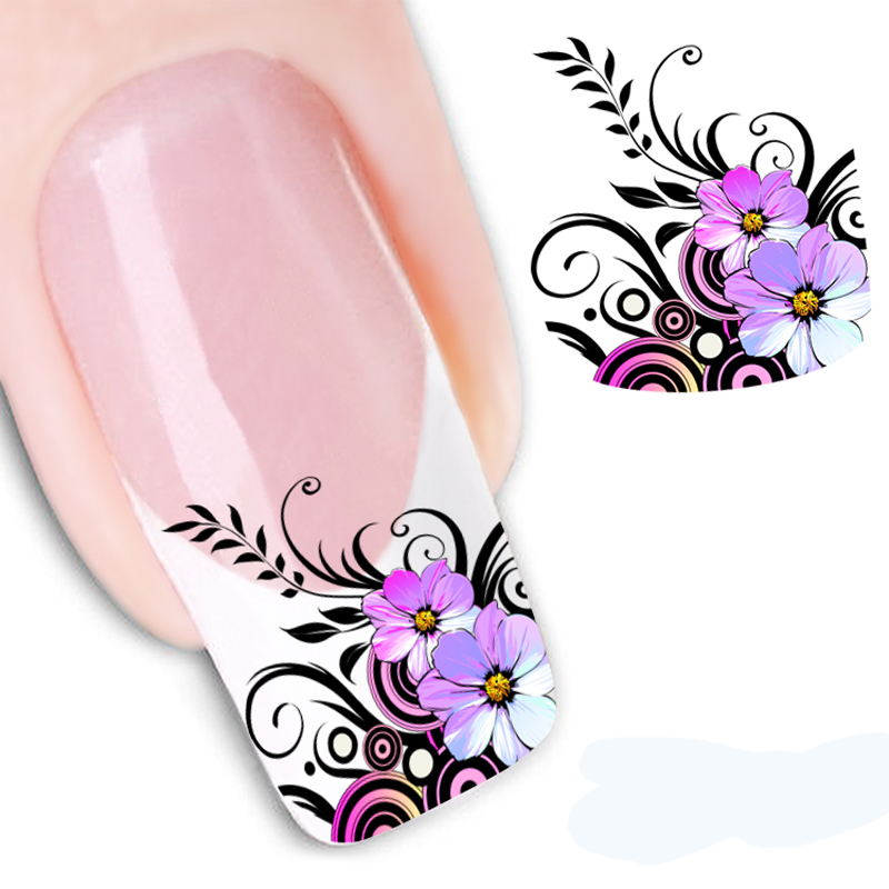 Hot Selling Water Transfer Nail Sticker Water Decals Beauty Black Swan Feather Nail Design