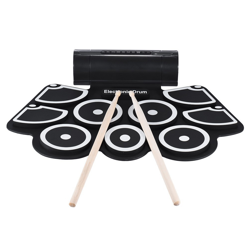 HOT-Portable Roll up Electronic USB MIDI Drum Set Kits 9 Pads Built-in Speakers Foot Pedals Drumsticks USB Cable For Practice support usb midi colorful portable roll up electronic drum set 9 silicon pads built in speakers with drumsticks foot pedals