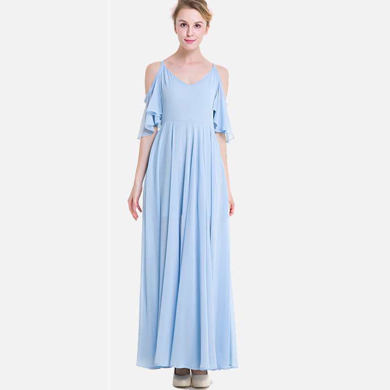 SheBlingBling Plus Size High Waist Chiffon Dress Fashion Open Shoulder  Flutter Sleeve Swing Dress Women Cami Maxi Dress-in Dresses from Women s  Clothing on ... 2bb16b5bcd2e