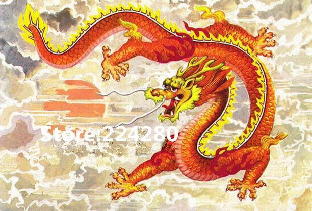 Needlework,Zodiac Dragon Animal for embroidery,14ct Unprinted DIY DMC Cross stitch kit,Art Pattern counted Cross Stitching decor