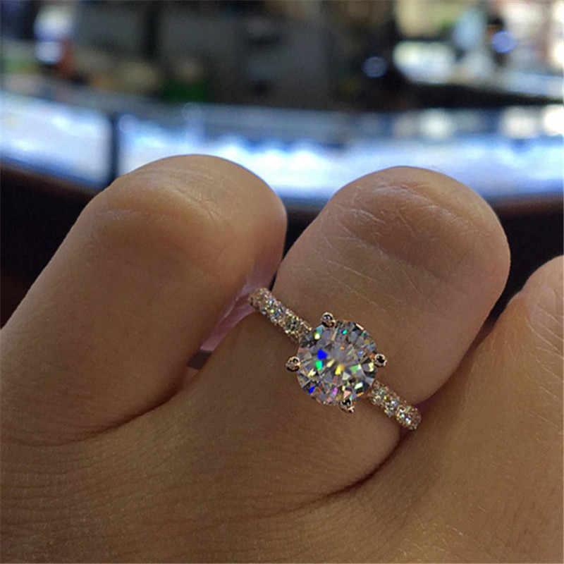 CC Hochzeit Ringe Für Frauen Prinzessin Luxus Vorschlagen Engagement Braut Schmuck Zirkonia Runde Stein Mode Bijoux CC2101