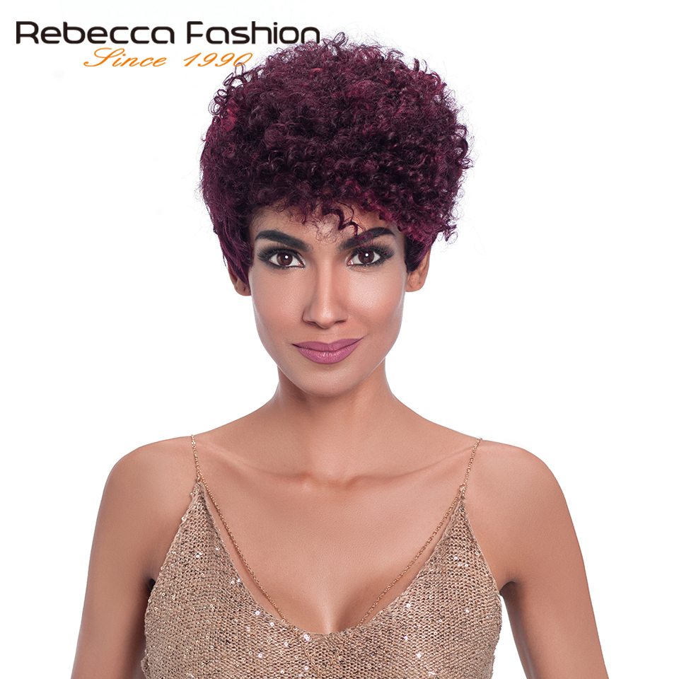 Rebecca Afro Kinky Curly Human Hair Wigs For Black Women Machine Made Non Lace Brazilian Kinky Curly Hair Short Wig