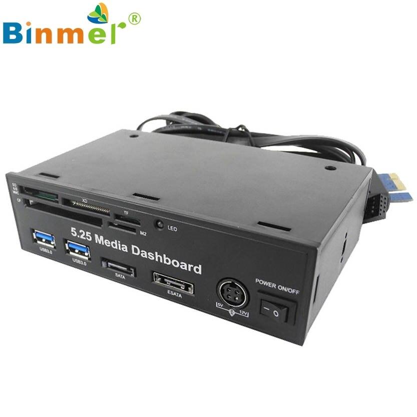 Binmer 5,25 PC media dashboard PCI-E Puerto USB 3,0 HUB todo en uno lector de tarjetas con paquete al por menor 13 de julio