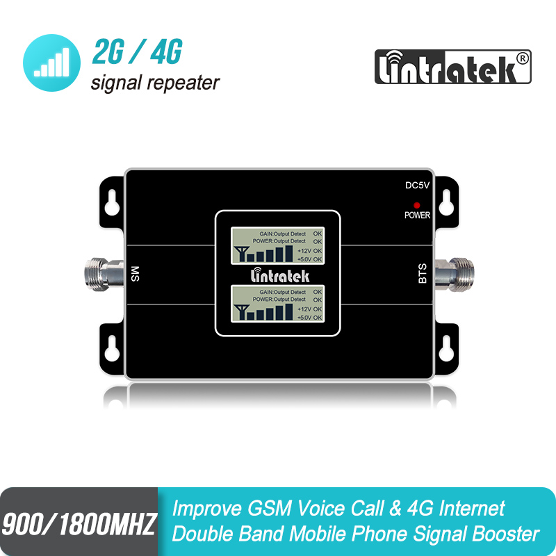 Lintratek Dual Band Signal Booster Two LCD Displays Cell Phone Signal Repeater Amplifier S8J3