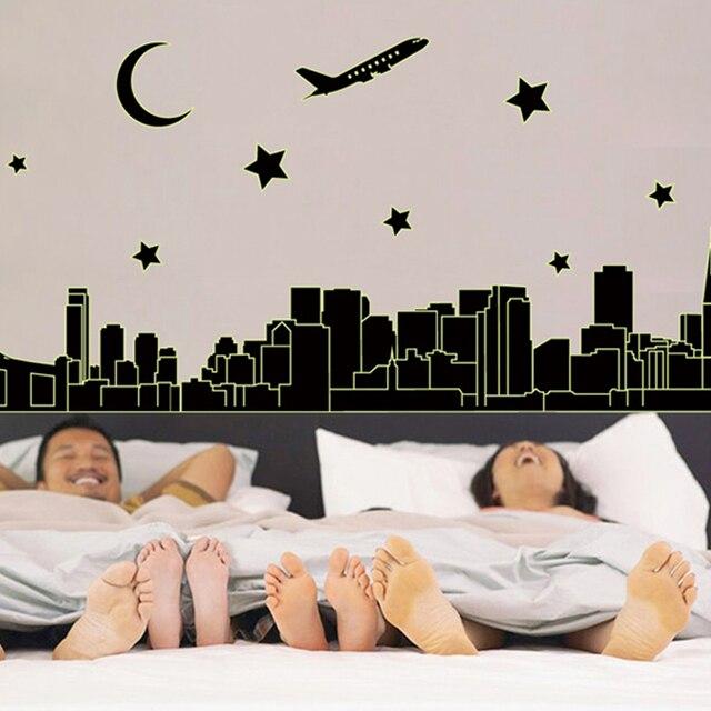 Kids Bedroom Vinyl luminous city moon stars glow in the dark vinyl wall stickers kids