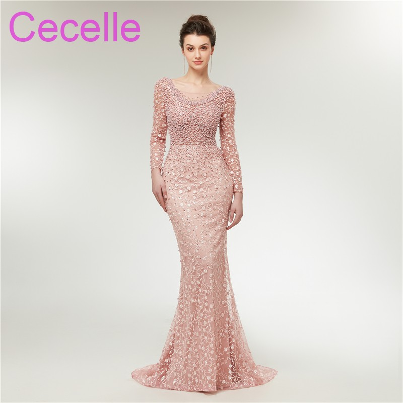 2019 Latest Blushing Pink Lace Mermaid Evening Dresses With Long Sleeves Sexy Low Back Pears Women Formal Evening Party Gowns