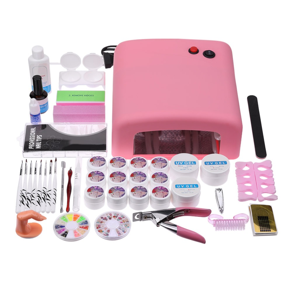 Nail Art Equipment Set 36W UV Gel Nail Polish Dryer with Nail Painting Brushes False Nail Tips 3D Decorations Manicure Glue nail rhinestones 3d nail art decorations hinning sharp flat bottom studs nail decor for uv gel polish manicure in wheel