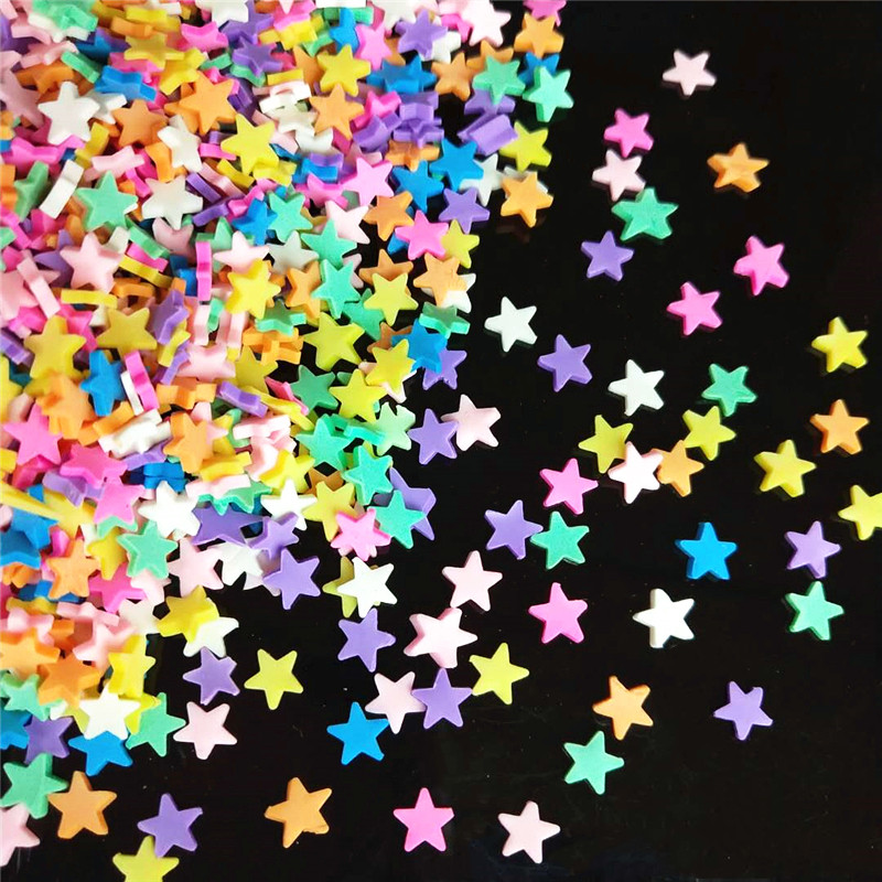 20g/lot Star Polymer Hot Soft Clay Sprinkles Colorful For DIY Crafts Plastic Klei Tiny Cute Mud Particles Yellow