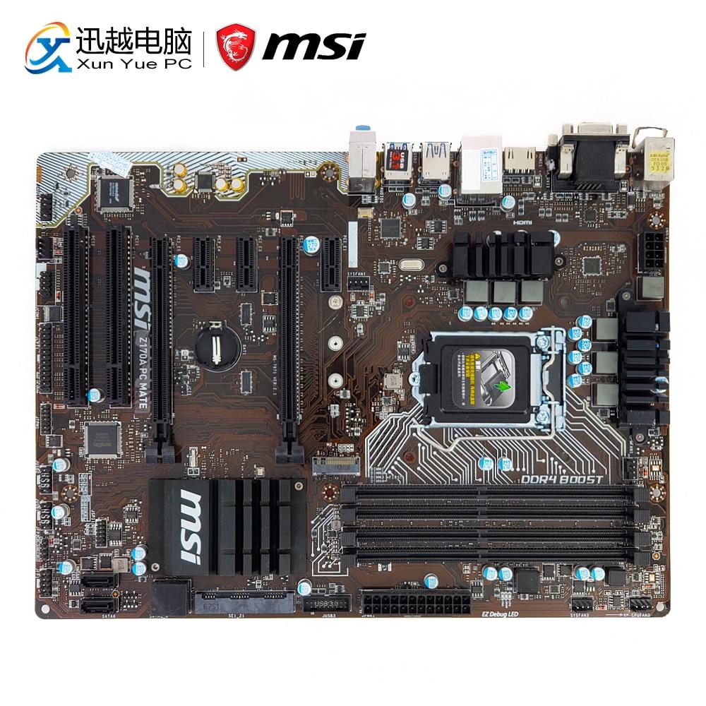 MSI Z170A PC MATE Desktop Motherboard Z170 Socket LGA 1151 i3 i5 i7 DDR4 64G M.2 SATA3 USB3.0 DVI HDMI ATX asus z170 deluxe original used desktop motherboard z170 socket lga 1151 i7 i5 i3 ddr4 64g sata3 usb3 0 atx