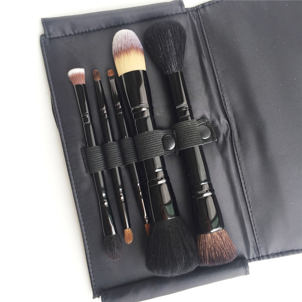 KA-SERIES эксперт кисти Коллекция путешествия щетки-5 Двусторонняя кисти с кожаной сумке-качество макияж кисть комплект