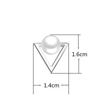 Hot Fashion Nickel Free Pearl Triangle Stud Earrings Fashion Jewelry  2