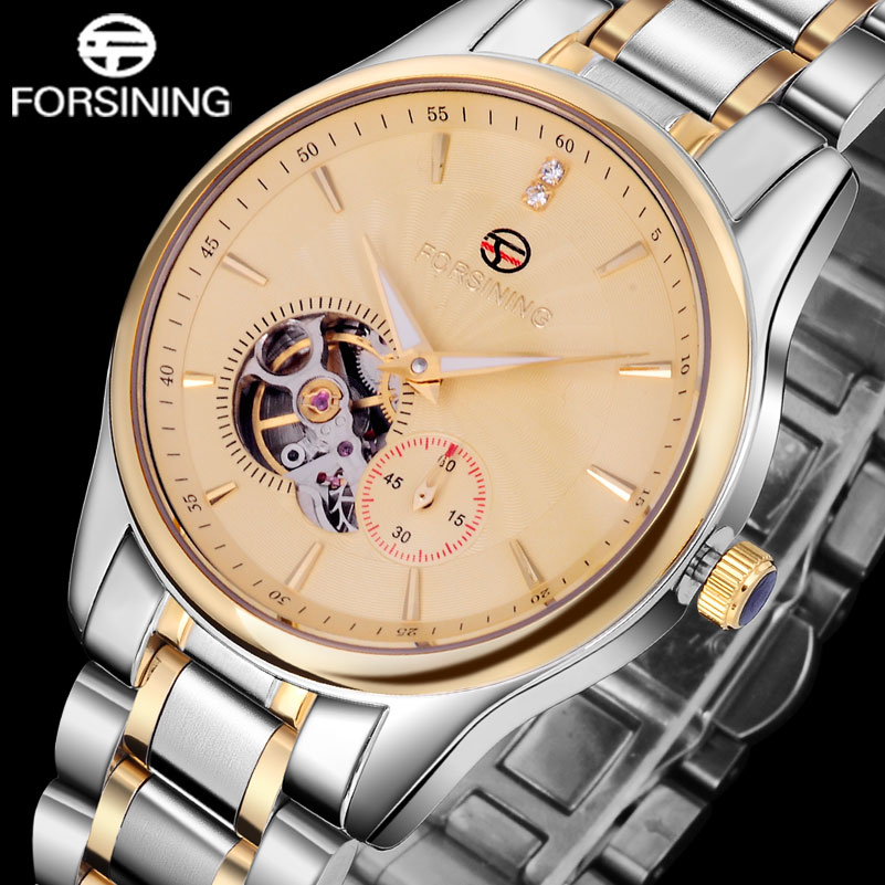 FORSINING Luxury Men's Tourbillon Dress Watch Men Fashion Automatic Self Wind Mechanical Watches Imported Stainless Steel Clock tevise men automatic self wind mechanical wristwatches business stainless steel moon phase tourbillon luxury watch clock t805d