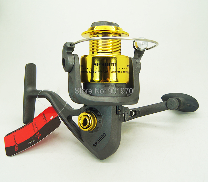 Free Shipping 5.0:1 6BB Fishing Reel spinning casting reel plastic spoolSP3000 Rear Drag Wholesale
