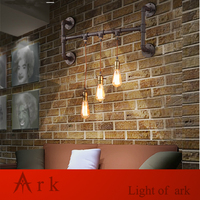 ARK LIGHT Retro Antique Rust 3 HEADS Water Pipe Wall Lamp Reminisced Lamp Loft American For