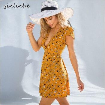 Yellow Wrap Beach Dress Mini Sexy V neck Women Beach Dress
