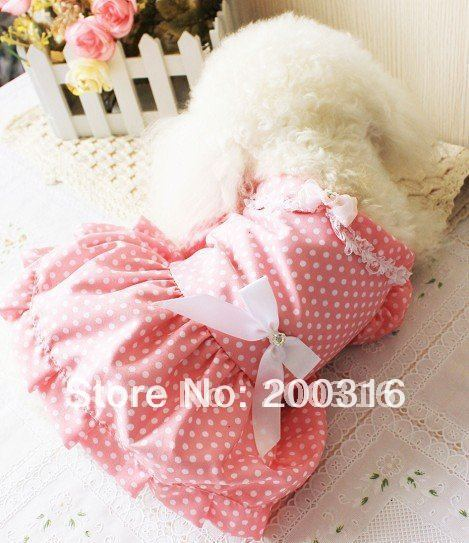New Lovey Pink  princess Pet Dog's Dress Free Shipping Dress for dog summer clothing for dog