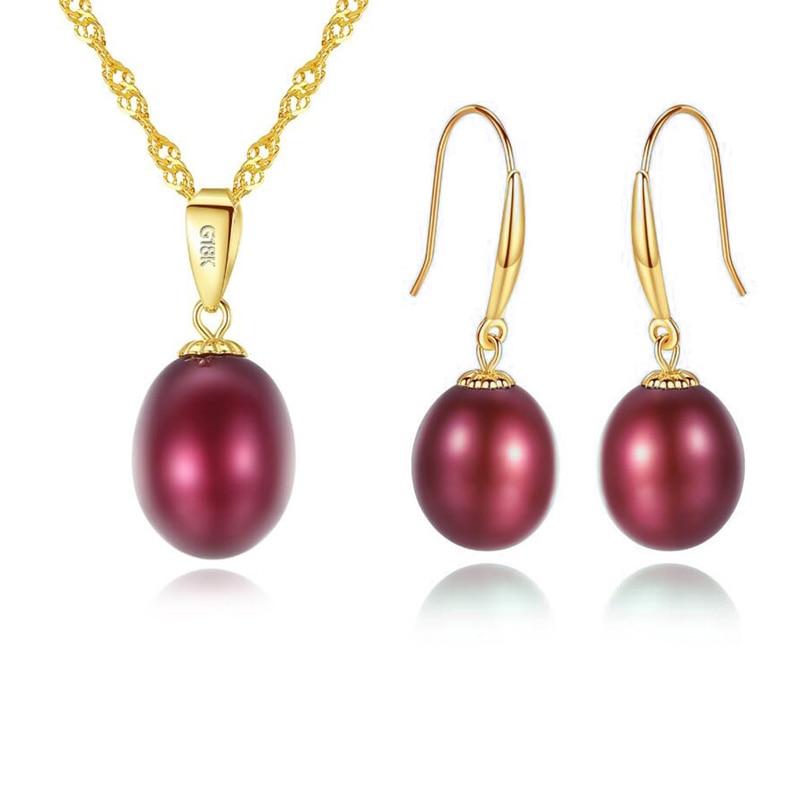 Ensembles de bijoux en or 18 K colliers/boucles d'oreilles ensemble femmes pendentif en or avec 925 chaîne de collier en argent perle d'eau douce bijoux de mariage