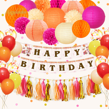 NICROLANDEE 56 pcs/set Happy Birthday Party Decoration Set Hanging Paper Lanterns Pom Poms Banner Garland Balloon Orange Pink