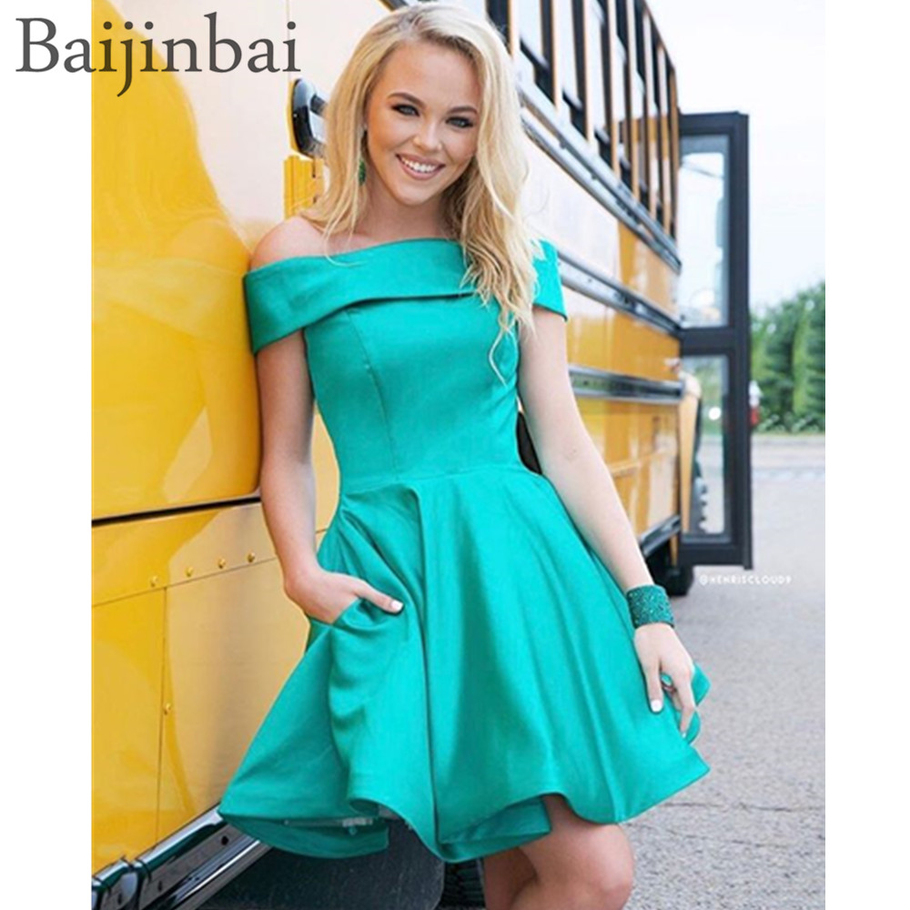 Baijinbai Off The Shoulder Sexy Homecoming Cocktail Dresses A-Line Satin Short Mini Prom Dress Formal Party Gowns with Pockets