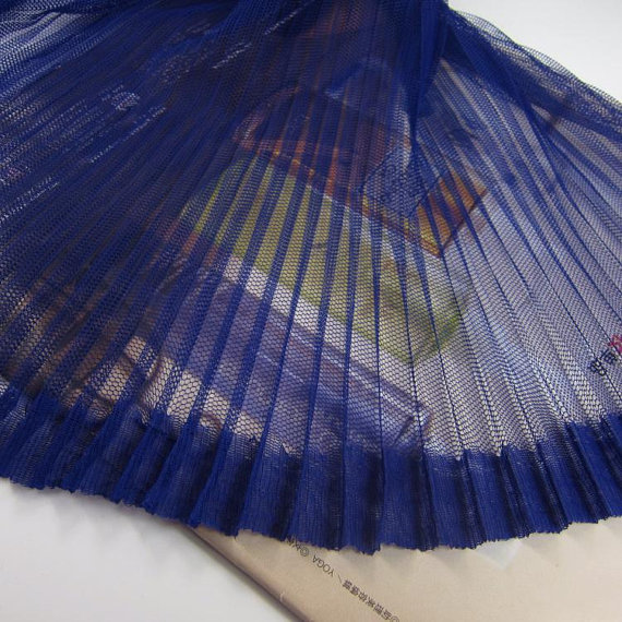 1yard Navy Blue Tulle Accordion Pleated Fabric Tulle