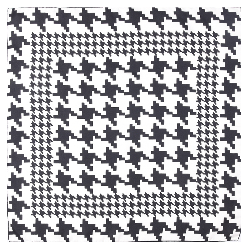 Houndstooth Print Small Square Silk   Scarf     Wraps   Bandana Women Ladies Fashion Neckerchief Headband 21X21 Inches