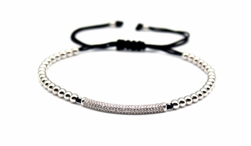 Top Fashion Cubic Zirconia Charm Men's Bracelets Famous Boys Micro Pave Trendy Braiding Strand Black Macrame Beads Bracelets. 5