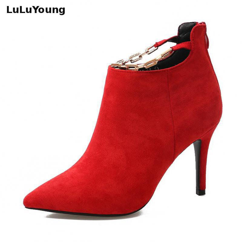 Women Short Boots Pointed High Heels Martin Boot Shoes Women Sexy Zipper Ankle Boots Sy-2532 6 inch platform side zipper fashion boot women top bows suede sexy 15cm ultra high heels short boots martin crystal shoes