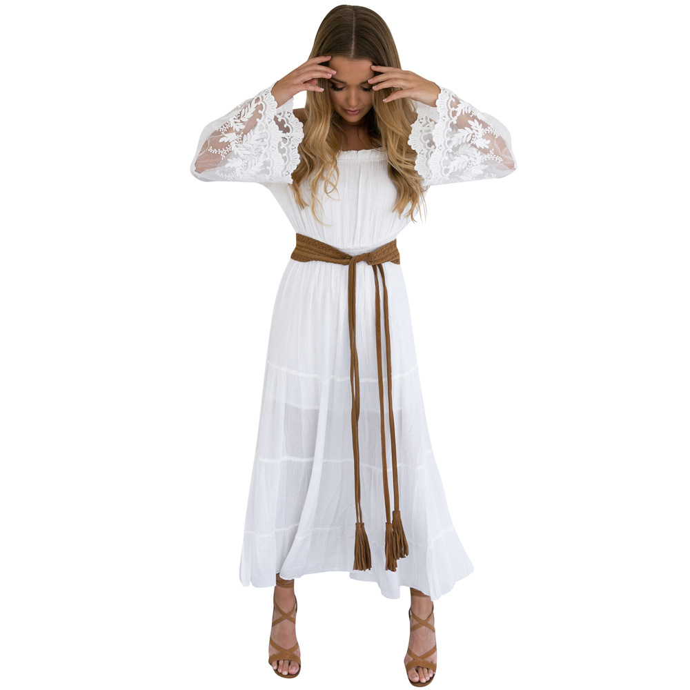 2018 Summer Sundress Long Women White Beach Dress Strapless Long Sleeve  Loose Sexy Off Shoulder Lace Boho Cotton Maxi Dress-in Dresses from Women s  Clothing ... c087d08fd