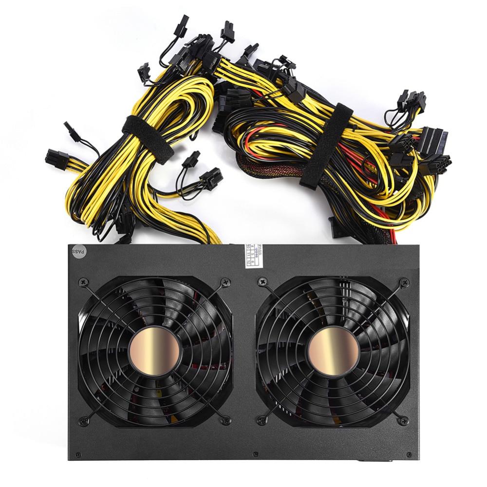 блок Питания Для Майнера и Компьютера Майнинг 3450Вт 170В 240В ATX 12 Видеокарты Новый Золотой Мощности Бесплатная Доставка