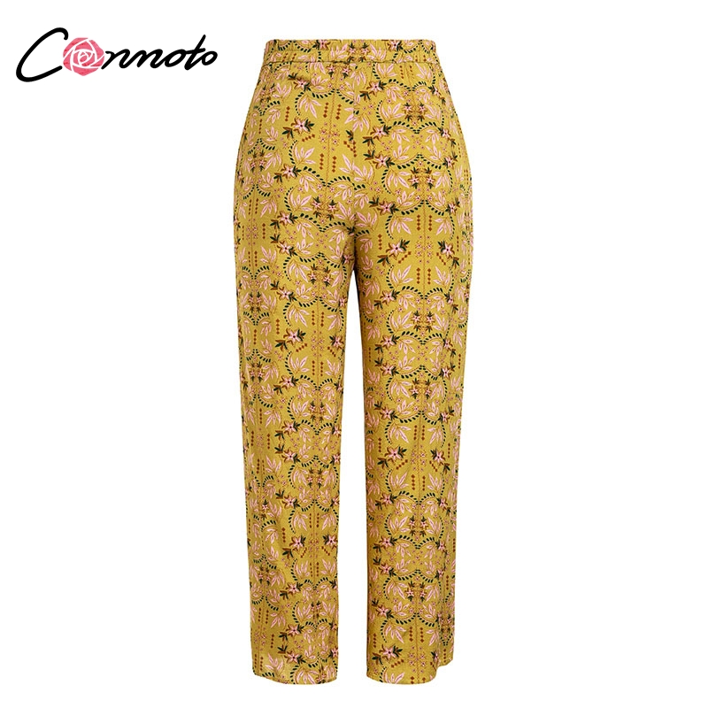 Conmoto Casual High Waist Wide Leg Pants Women 19 Summer Beach Split Trousers Female Holiday Vintage Floral Prints Capris 9