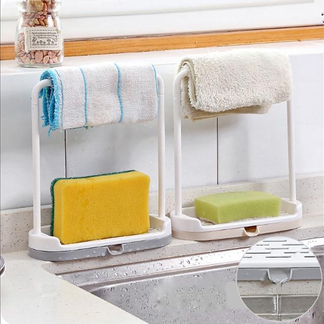 Dish Cloth Rag Storage Rack Wash Cloth Hanging Shelf Bathroom Kitchen Cabinet Cupboard Organizer Pan Cover Stand Towel Holder