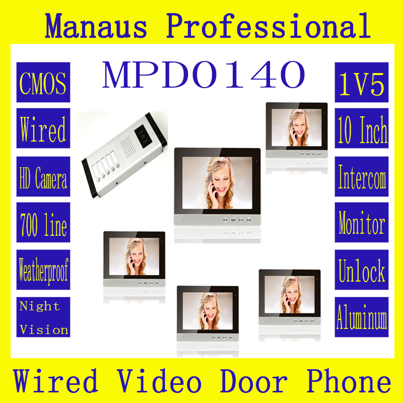 Hot Selling 10 Inch TFT Color Wired Digital One To Five Video Door Phone System,Smart Home Waterproof Video Intercom Phone D140b