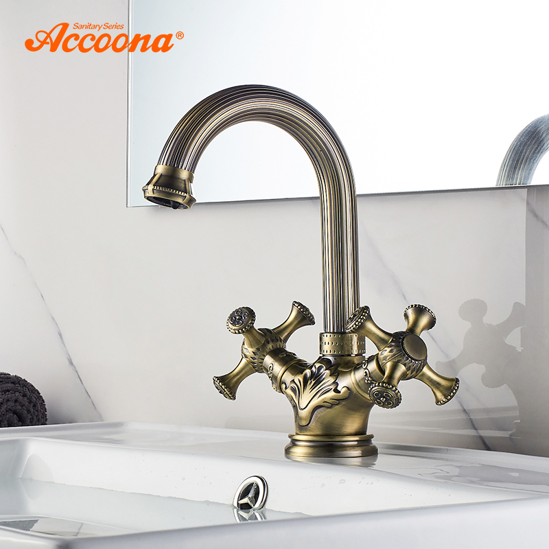 Accoona Antique Brass Basin Faucet Deck Mounted With Single Handle One Hot And Cold Water Carved Bathroom Faucets A94108C цена 2017