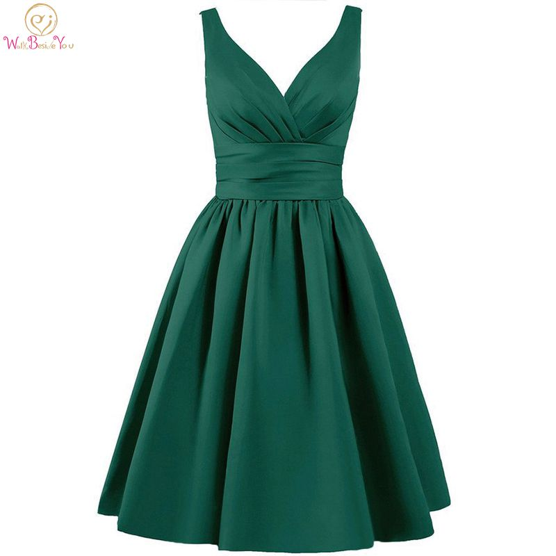 Walk Beside You Green Bridesmaid Dresses Purple Short A-line V-neck Satin Elegant Dress Robe Demoiselle D'honneur Pour Femme(China)