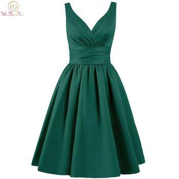 Walk Beside You Green Bridesmaid Dresses Purple Short A-line V-neck Satin Elegant Dress Robe Demoiselle Dhonneur Pour Femme
