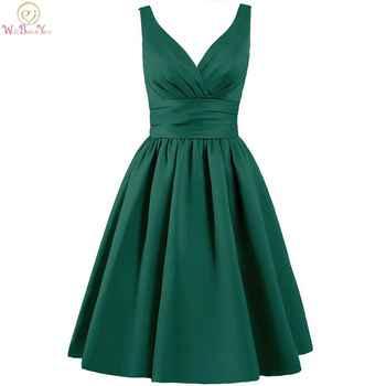 Walk Beside You Green Bridesmaid Dresses Purple Short A-line V-neck Satin Elegant Dress Robe Demoiselle D'honneur Pour Femme - DISCOUNT ITEM  31% OFF All Category