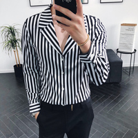Autumn New Social Men's Long sleeved Shirt Stripes Slim Fit Fashion Business Casual Temperament British Wind Dress Shirt Man