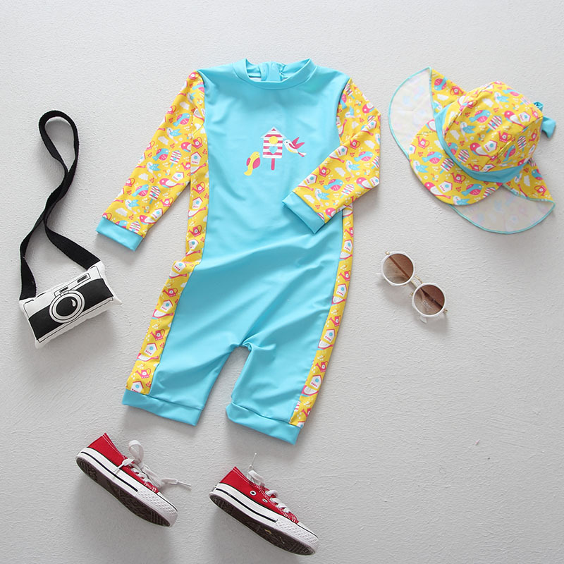 0 6T Infant Baby Swimwear One Piece Children 39 s Swimsuit for Girls Sun Protection Long Sleeve Toddler Baby Bathing Suit Beachwear in Children 39 s One Piece Suits from Sports amp Entertainment