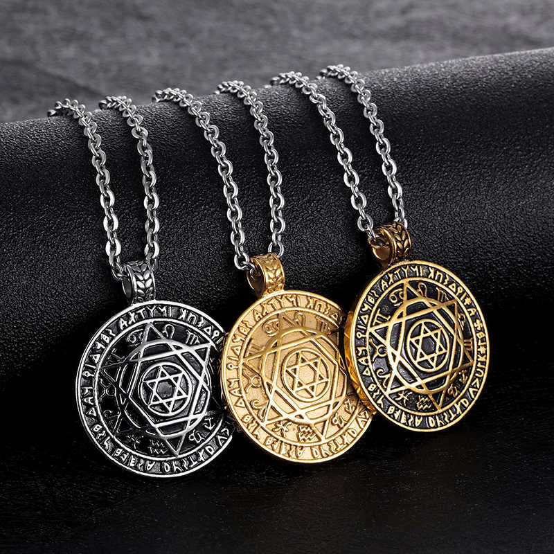 Punk Rock Titanium Steel Star of David Hexagram Round Pendant Necklace fo Men Jewelry Gold Silver Color